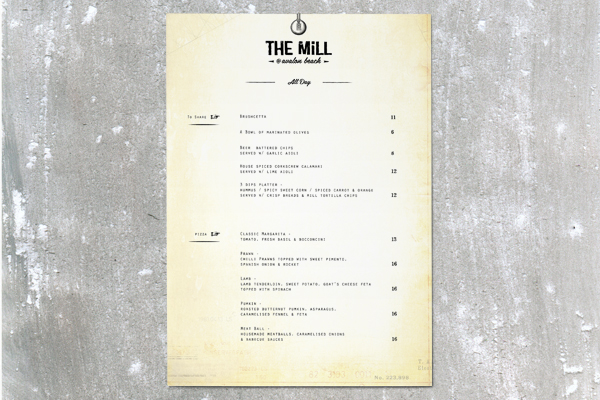 the mill bar menu design