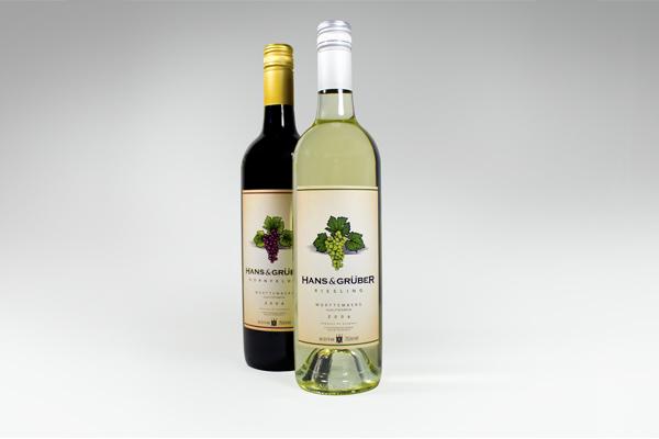 german wine label - hans and Hanz& gruber