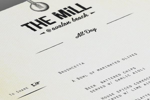 mill bar menu design
